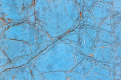 The iron wall with rust and cracked blue paint Royalty Free Stock Images