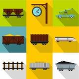 Iron way road icons set, flat style Royalty Free Stock Image
