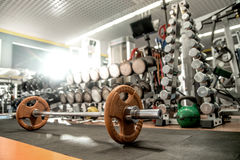 Iron weight in gym , interior indoor Stock Photo