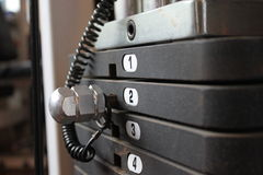 Iron weights on exercise machine,horizontal compos royalty free stock photography