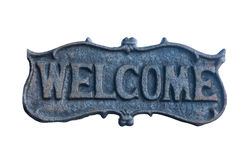 Iron Welcome Sign isolate on white background with clipping path Royalty Free Stock Image