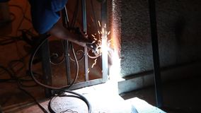 Iron Welding Electricity stock footage