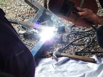 Iron welding With sparkle In industrial work stock photos