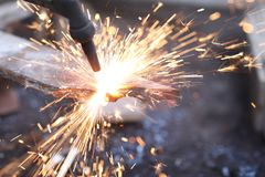 Iron Welding in Workshop stock photo