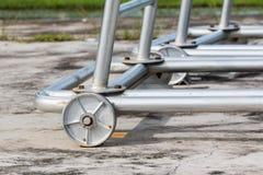 iron wheel base of iron structure Stock Photos