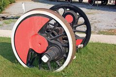 Iron wheels axle Stock Photo