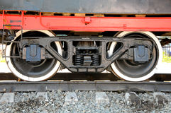 Iron wheels of the locomotive Stock Image
