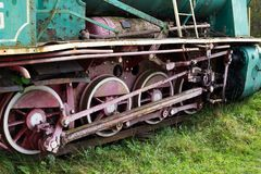 Iron wheels of old locomotive Royalty Free Stock Photography