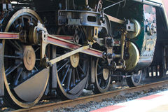 Iron wheels of stream engine locomotive train on railways track Stock Photography