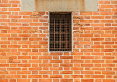 Iron Window on brick wall. Background stock images