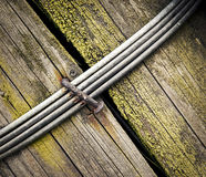 The iron wire spike on wood Royalty Free Stock Photography