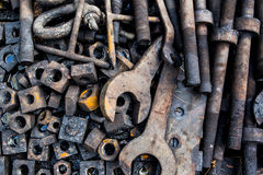 Iron wrenches and nuts and bolts Stock Image