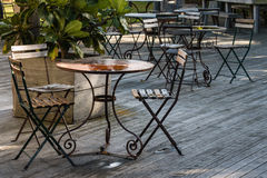 Iron wrought furniture in restaurant Stock Photography