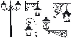 Iron wrought lanterns with decorative ornaments. Vector illustration royalty free illustration