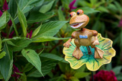 Iron young frog in a garden Royalty Free Stock Image
