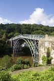 Ironbridge Gorge. The world's first bridge to me made of cast iron, crossing the River Severn at Ironbridge Gorge in Shropshire stock image