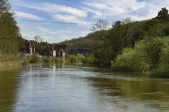 Ironbridge with River Severn Shropshire. River severn - Englands longest river with the Iron Bridge in the back ground. The worlds first iron made bridge. Made Stock Image