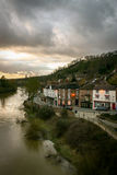 Ironbridge, Shropshire, England. IRONBRIDGE, UK - 14 FEBRUARY 2005: A view of the Shropshire town of Ironbridge on the banks of the River Severn on a grey and Stock Image