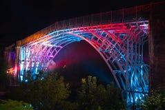 ironbridge som tänds upp Royaltyfri Fotografi