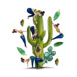 Cacti and yoga - watercolor. Ironic abstract set for greeting cards, posters. A good addition for humorous compositions. Combines the elements of sport-fitness Royalty Free Stock Photography