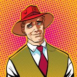 Ironic man. Cartoon character. Wild west.. Halftone background. Ironic man. Cartoon character. Wild west, vector illustration.. Concept idea of advertisement Royalty Free Stock Image