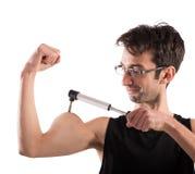 Ironic muscular man Stock Photo