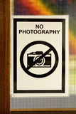 Ironic photograph of a sign stating no photography Royalty Free Stock Photography