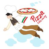 Flying pizza maker for takeaway pizza. Ironic pizza maker in flight with takeaway pizza to take away vector illustration