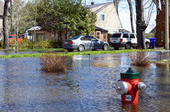 Ironically a fire hydrant can`t protect these flooding homes. Homes are threatened by rising waters in Gatineau, Quebec, Canada. While a fire hydrant dots what royalty free stock photo