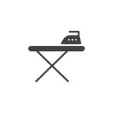 Ironing board and iron icon vector, filled flat sign, solid pictogram isolated on white. Stock Image