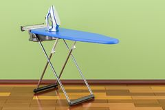 Ironing board with modern electric steam iron in room on the woo. Den floor, 3D Stock Photography