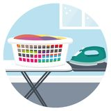 Ironing clothes. House cleaning services icon II. Stock Photos