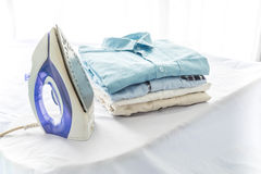 Ironing, clothes, housework and objects concept Royalty Free Stock Images