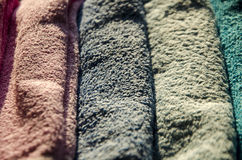 Ironing colorful towels Royalty Free Stock Photography