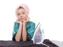 Ironing girl Stock Photos
