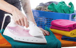 Ironing and laundry Stock Image