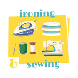 Ironing and sewing household chores cartoon icon Stock Photo