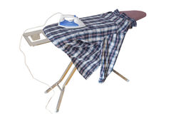 Ironing a Shirt Stock Photo