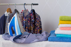 Ironing shirts Royalty Free Stock Photos