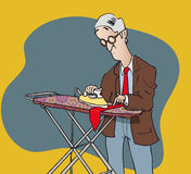 Ironing tie. Odd cartoon man ironing his own tie on ironing board Stock Photography