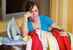 Ironing woman Stock Photo