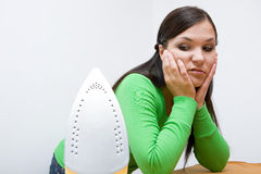 Ironing woman Stock Photo
