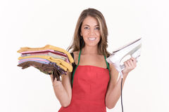 Ironing woman, isolated on white Royalty Free Stock Image