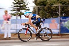 ironman烫发佩雷斯・西班牙triathlete zamora 库存图片