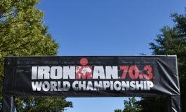 Ironman 70 3个世界冠军横幅 图库摄影