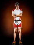 Ironman corrente di triathlon del corridore dell'uomo isolato immagine stock libera da diritti