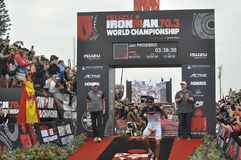 Ironman 70 de Izuzi campeonato de 3 mundos en Port Elizabeth en Suráfrica imagen de archivo