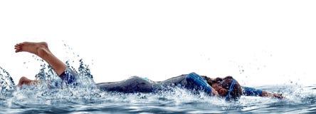 Ironman de zwemmersatleet van het vrouwentriatlon royalty-vrije stock afbeeldingen