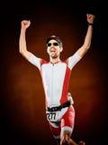 Ironman för triathlon för manlöpare isolerad rinnande Arkivbilder