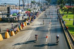 Ironman 70.3 Lima - Peru 2018. LIMA, PERU - APRIL 22th 2018: Ironman 70.3 . Athletes competing in the second stage of this great competition that is now cycling Stock Images